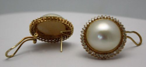Vintage Large Mabe Pearl Diamond Earrings