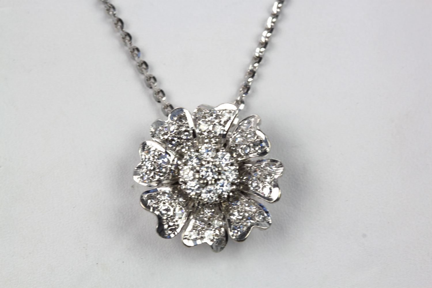 Diamond flower pendant 14k white gold slide on 18k white gold chain diamond flower pendant mozeypictures