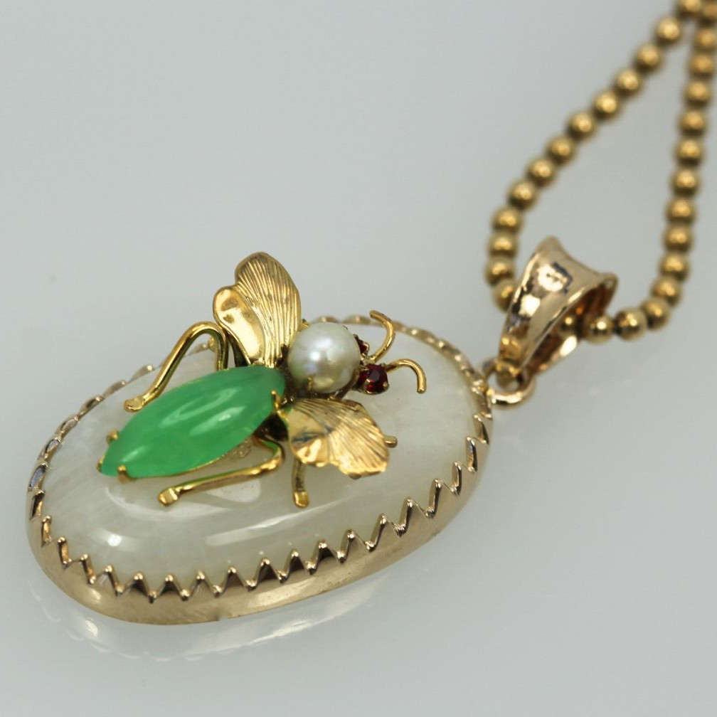 Moonstone jade insect pendant 18k cris notti jewels insect jade pendant aloadofball Choice Image