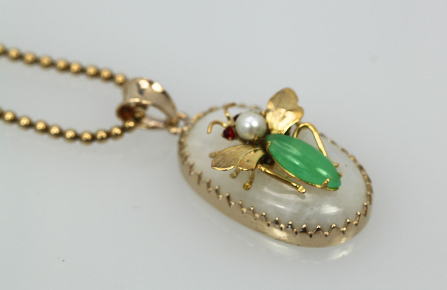 Moonstone jade insect pendant 18k cris notti jewels moonstone jade ruby pearl insect necklace 2 aloadofball Choice Image