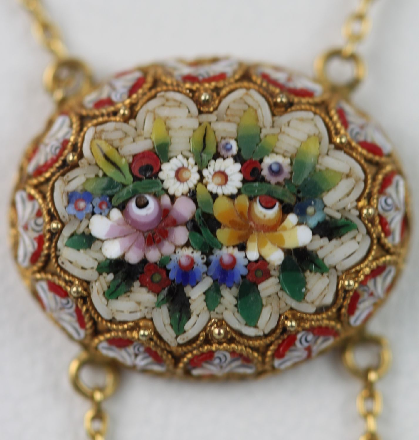 Antique micro mosaic double swag necklace cris notti jewels micro mosaic double swag necklace aloadofball Image collections