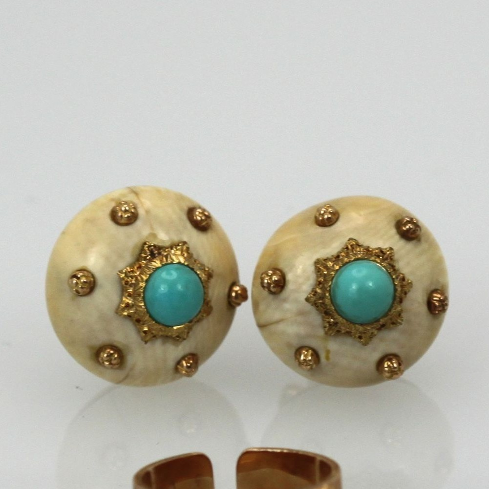 Buccellati Textured Brushed 18k Turquoise And Cream Earrings