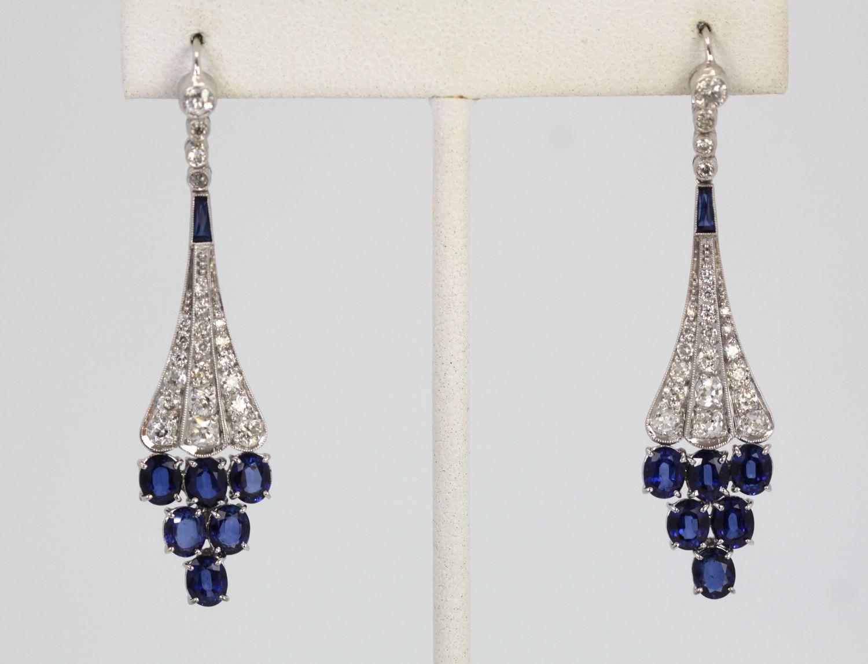 Art Deco Platinum Shire Diamond Earrings