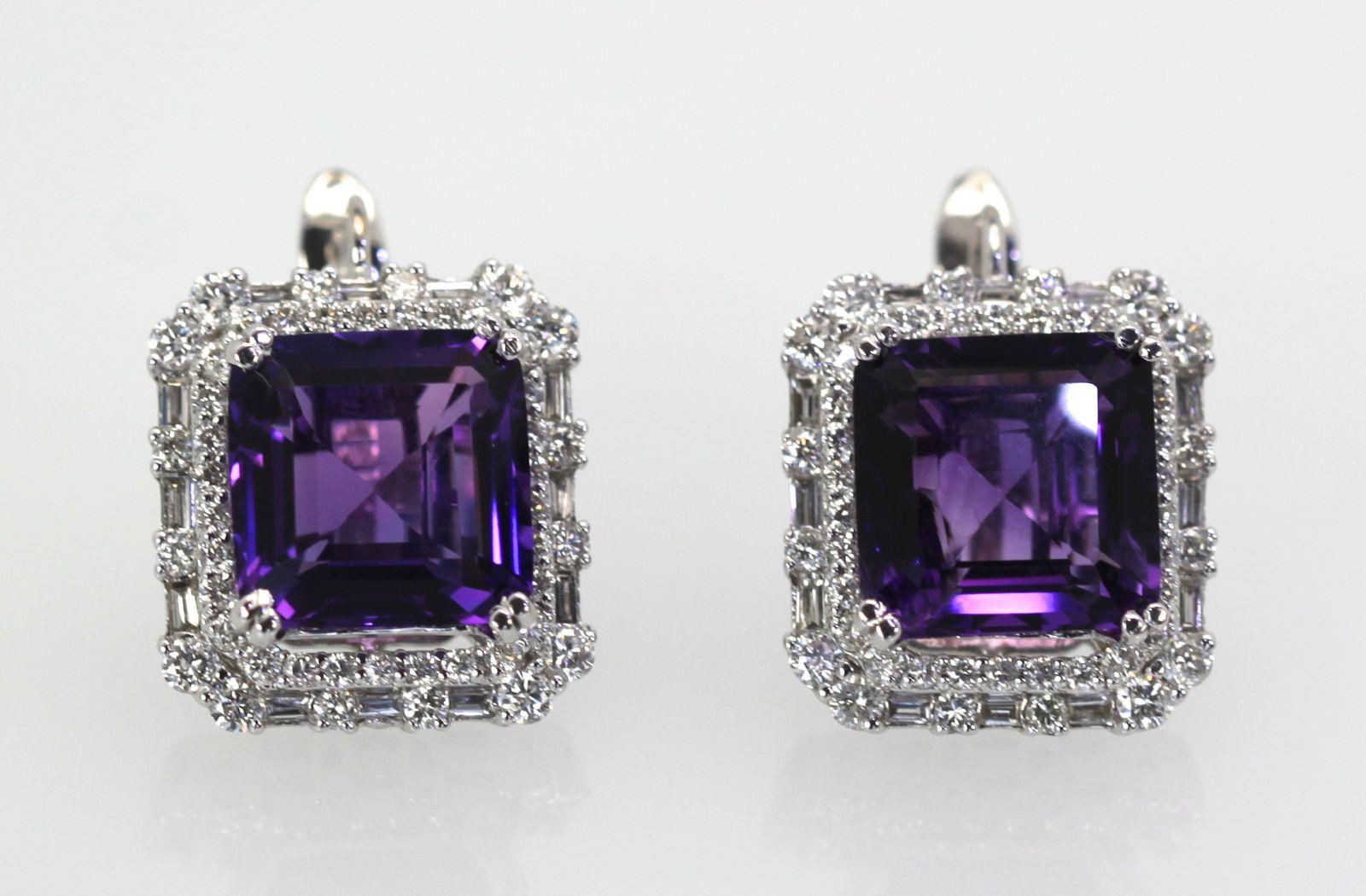 Amethyst Diamond Earrings 10 Carats Side By
