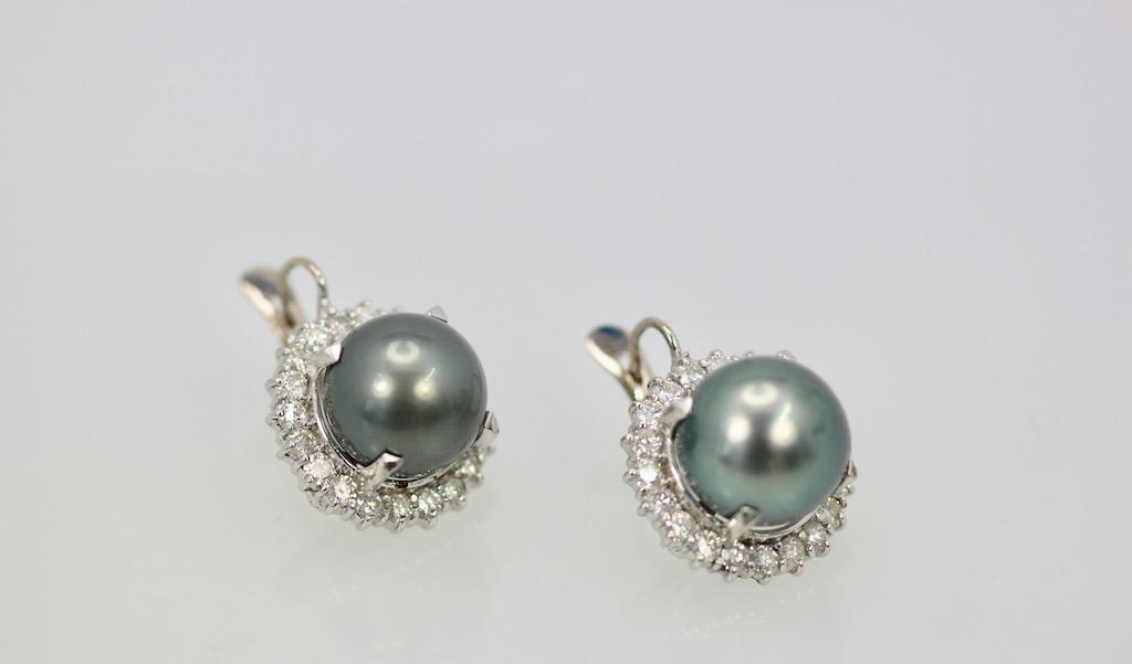 Tahitian South Seas Black Pearl Earrings